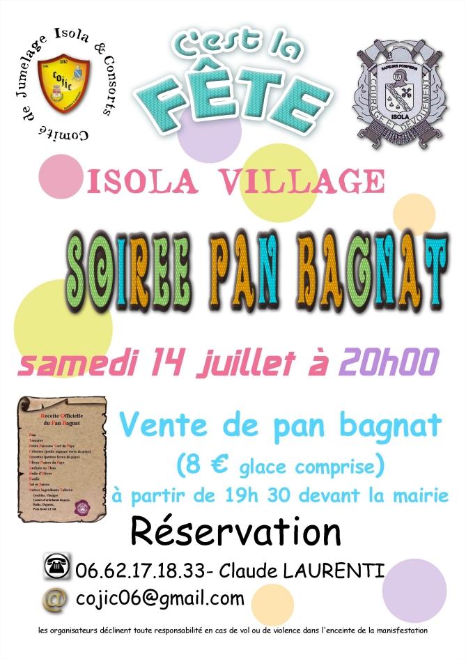 Soirée Pan Bagnat à Isola, samedi 14 juillet 2018