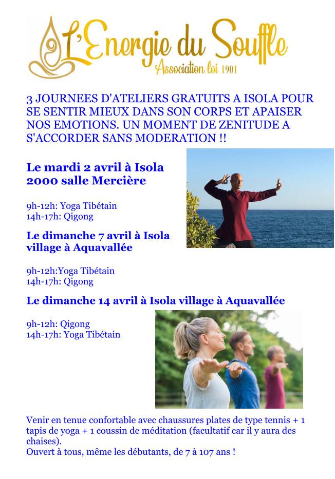 3 jours d'ateliers de Yoga Tibétain à Isola
