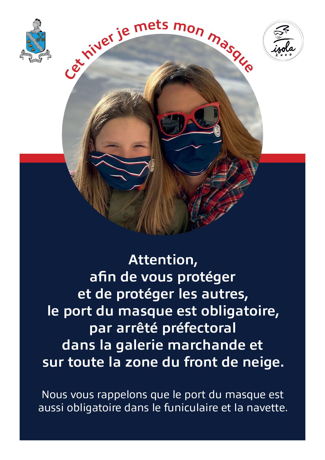 Port du masque obligatoire galerie marchande front de neige Isola 2000